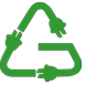 recycling logo with electrical plugs instead of arrowheads