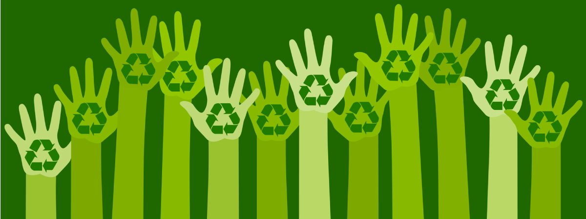 Multiple hands in the air with recycling logos on their palms